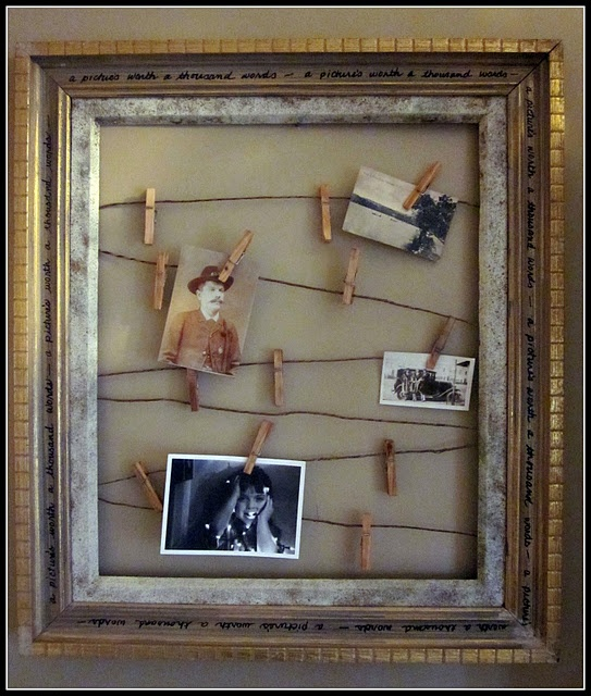 This is cute - an old picture frame and jute twine ... a simple way to showcase your favourite things....