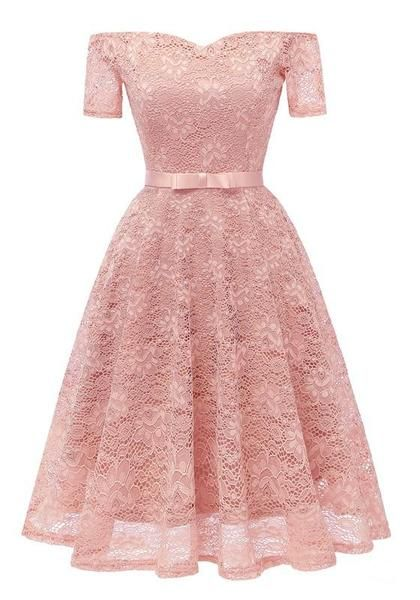 b4b37220d8aa Pink Lace Bow Pleated Off Shoulder Backless Tutu Banquet Elegant Party Midi  Dress