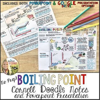 Boiling Point Cornell Doodle Notes! What happens at the boiling point of a liquid? And how does the boiling temperature of water change with elevation on planet Earth? Fun, visual, scaffolded, and no-prep Doodle Notes!