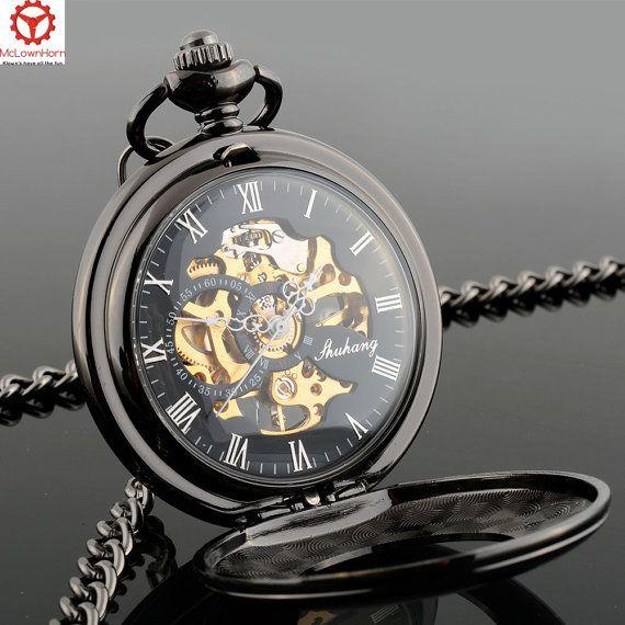 Men's Pocket Watch  Black Smooth Design  Mechanical  by McLownHorn