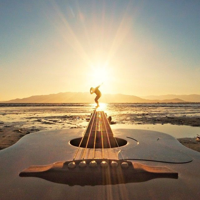 Guitar on the beach.