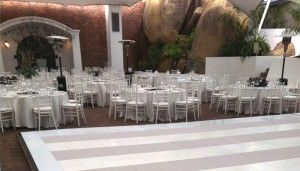 Gray and white striped dance floor. Beautiful and elegant and something just a bit different