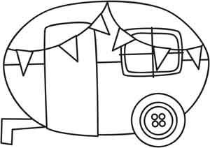 Celebrate summer with a cute camper design! Downloads as a PDF. Use pattern transfer paper to trace design for hand-stitching.