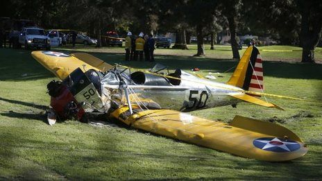 "Harrison Ford injured in WWII plane crash. US actor Harrison Ford has been injured in a small plane crash in Los Angeles. The 72-year-old star of the Indiana Jones and Star Wars films reported engine failure and crash-landed his vintage plane on a Venice golf course. He was breathing and alert when medics arrived and took him to hospital in a ""fair to moderate"" condition, a fire department spokesman said. Shortly after take-off from Santa Monica Airport, he said he was having engine…"