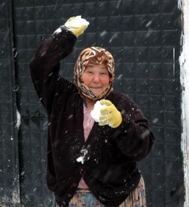 Beware Grannies bearing snowballs in Kirazli Koy, Kusadasi