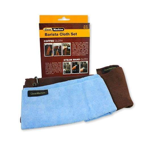 The Clean Machine Barista Cloth set offers a commercial quality hard wearing set of microfibre cloths. The brown coffee cloth has a generous length and clip for quick and easy use.  Dimensions are 30cm x 59cm.    The blue steam wand cloth creates the perfect companion around the machine being able to be folded and reused effectively many times before rinsing is required.