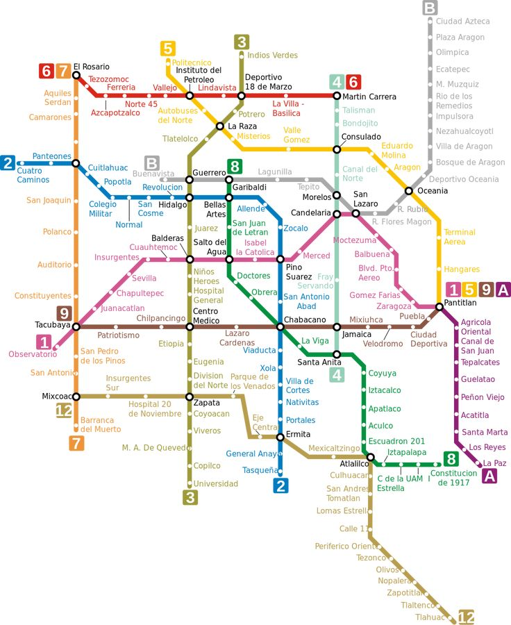 Mexico City metro map, MexicoThe Mexico City Metro, which opened on September 4, 1969, is a subway network consisting of 225kms of double track, 12 lines and 195 stations with capacity to transport more than 4.2 million users per day. The metro serves areas of Distrito Federal and State of Mexico. It is managed by the Sistema de Transporte Colectivo (STC). It's known simply as Metro.