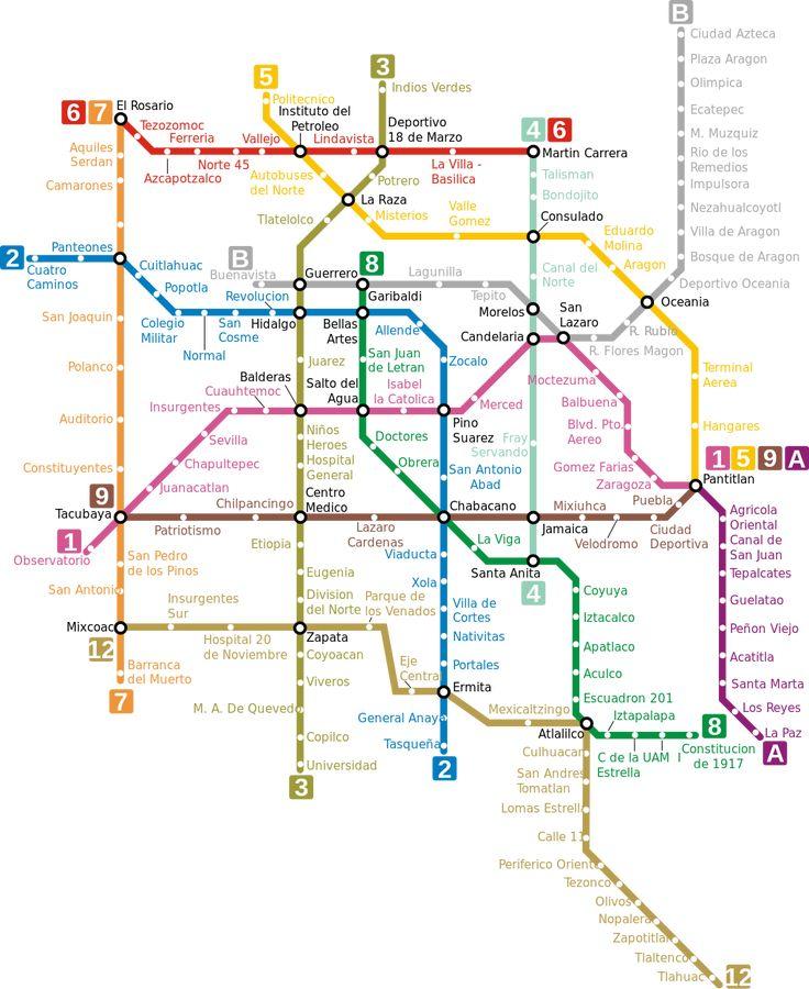 Mapa del metro de Ciudad de Mexico, Mexico  El metro de Ciudad de Mexico, inaugurado el 4 de septiembre de 1969, es una red de tren metropolitano que consiste en 225 kms de vías dobles, 12 líneas y 195 estaciones con capacidad para transportar más de 4.2 millones de usuarios transportados al día. Da servicio a áreas del Distrito Federal y del Estado de México. Está gestionado por el Sistema de Transporte Colectivo (STC). Se le conoce como simplemente metro.