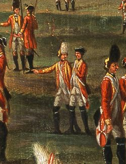 Attr. Ignacio Maria Chiesa, Lady Louisa Lennox with her husband's Regiment, 25th Regiment of Foot, c. 1771, NAM - fifer or drummer