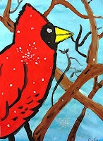 Cardinals in Winter - Art Lesson