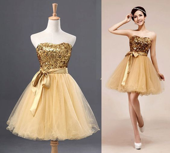 Gold short prom dress tulle dress bridesmaid dress,Fashion Homecoming Dress,Sexy Party Dress,Custom Made Evening Dress