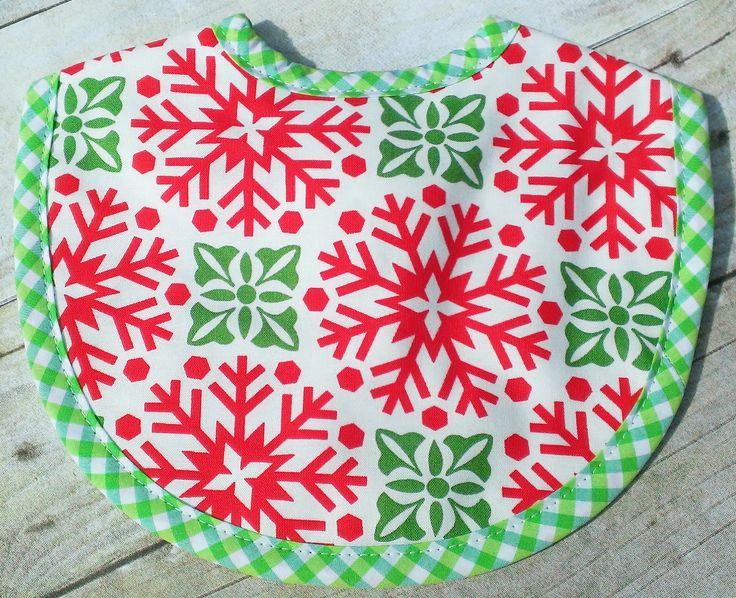 Red & Green Snowflake Christmas Bib by 3 Marthas