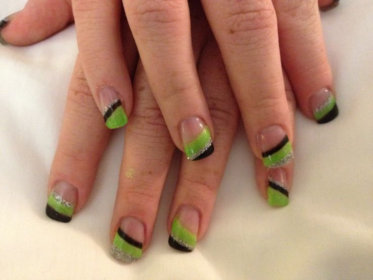 Lime green, black and silver nails in 2019 | Black nails ...