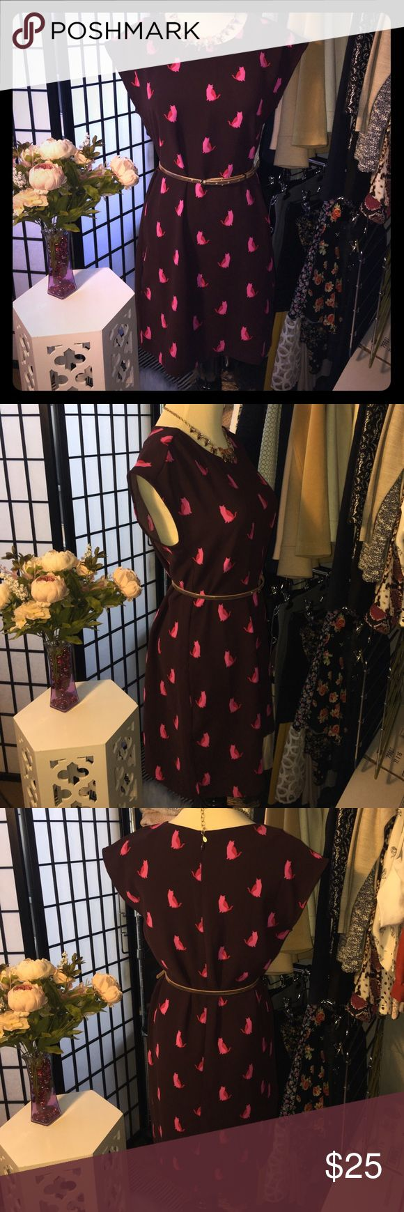 XS Ann Taylor Loft burgundy dress with pink cats XS Ann Taylor Loft dress, zipper back, burgundy color with pink cats pattern, belt not included Ann Taylor Loft Dresses