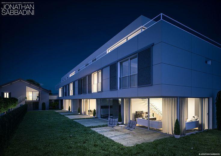rendering fotorealistico esterno immobiliare notturno  ©Jonathan Sabbadini  #rendering #fotorealistico #notturno #edificio #esterno #immobiliare