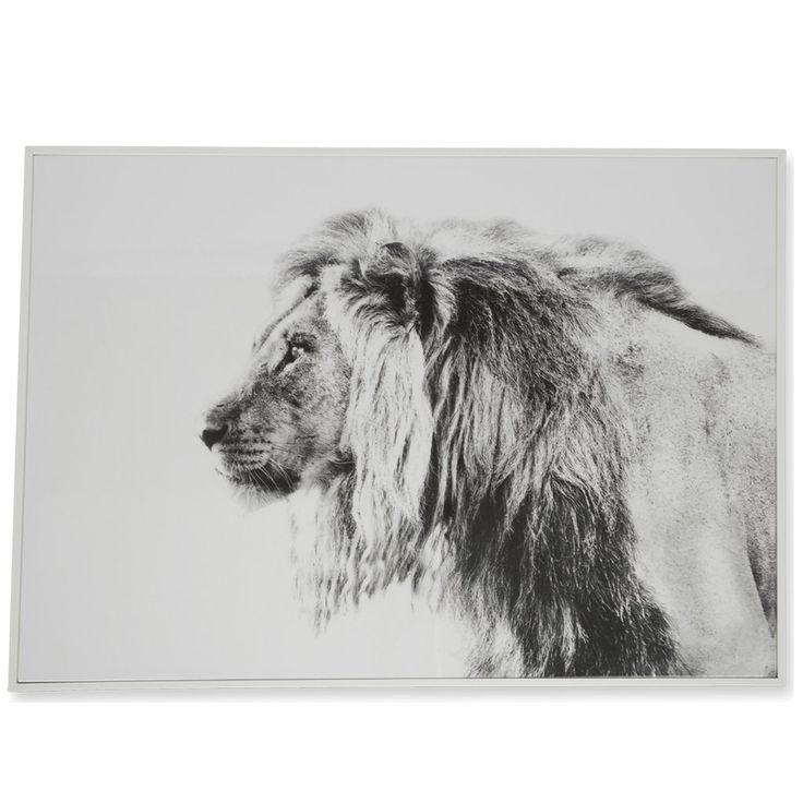 Lion Black & White Wooden Framed Wall Art $145.90