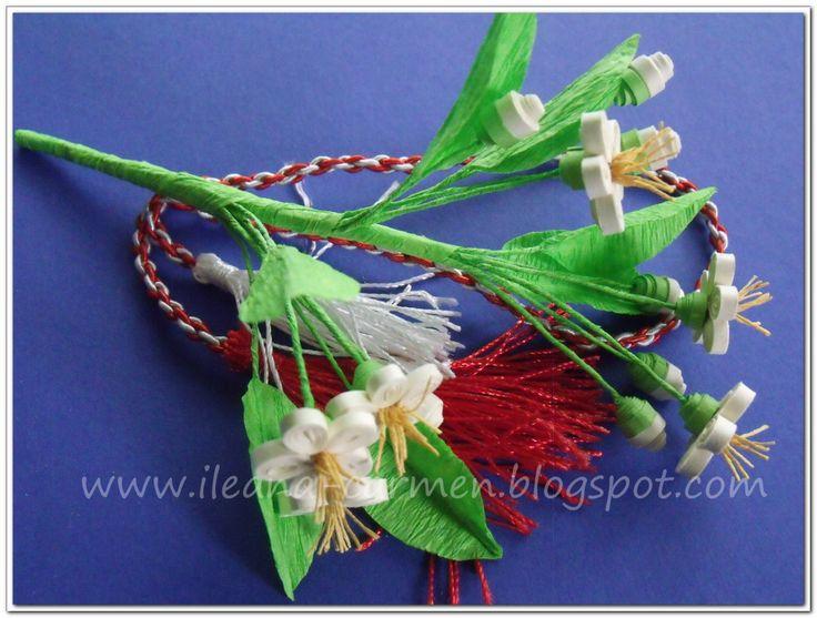 Quilling 3d - Branch with Flowers for 1st March. Martisor cu crenguta de pom inflorita realizat prin metoda quilling 3d pentru 1 Martie.