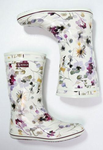 Aigle MALOUINE Kalosze białe w kwiaty offwhite