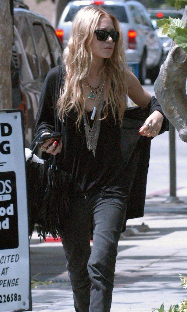 Mary-Kate Olsen Goes Boho In Black While In LA