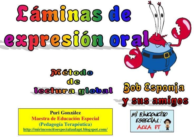expresión oral con láminas de bob esponja
