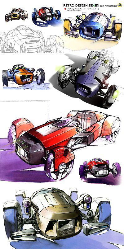 """Watercolor and Rapidograph forward looking car designs for a line called """"Seven."""""""