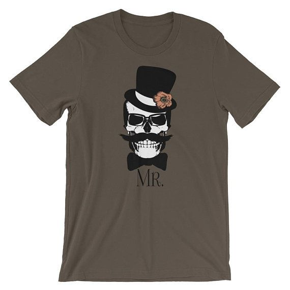 Bride Groom Mr. Mrs. Shirts Goth Skulls Horror Themed Wedding Just Married Newlywed Honeymoon T-shirts Steampunk Skulls Gothic Wedding Shirt