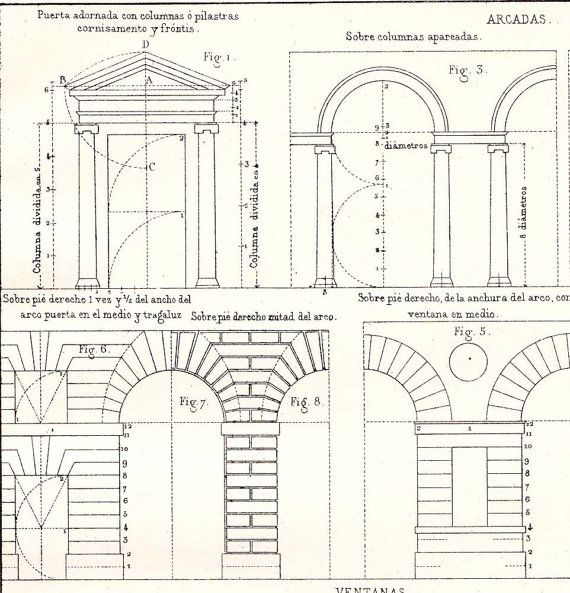 Doors arcades windows architectural print vignola for Print architectural drawings