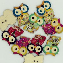 Hot Sale 30PCS Retro Cartoon Owl Designs Wooden Buttons 2-Holes Apparel Sewing Button DIY Craft Supplies 30*23mm size(China (Mainland))