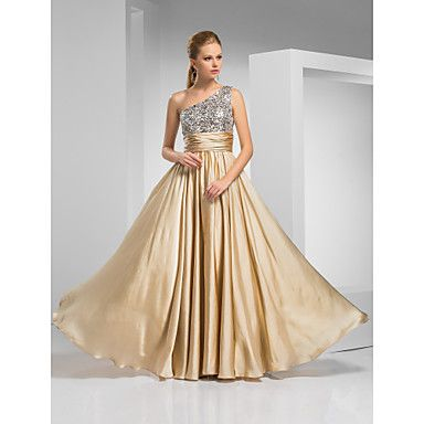 Sheath/Column One Shoulder Floor-length Satin Chiffon Evening/Prom Dress  – USD $ 199.99