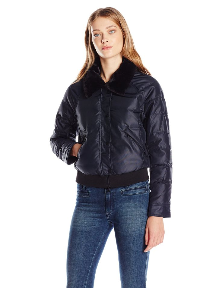 A|X Armani Exchange Women's Puffer Coat, Navy, Large. Waist jacket. Slim fit.