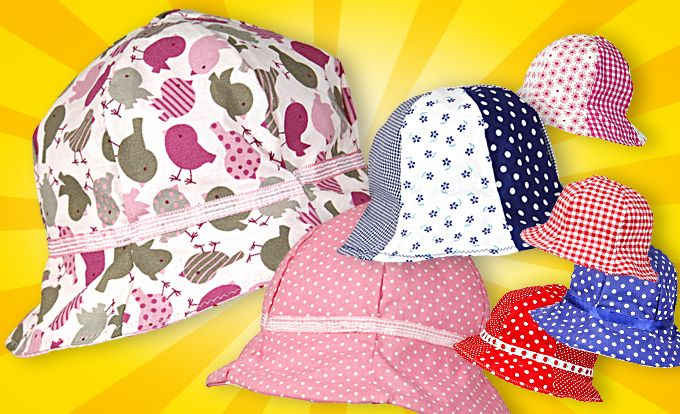 Im Sommer geht's nicht oben ohne: Mit einem Hut ist die empfindliche Kopfhaut der Kleinen vor Sonnenstrahlen geschützt. Ein Sommerhut zum Selbernähen!