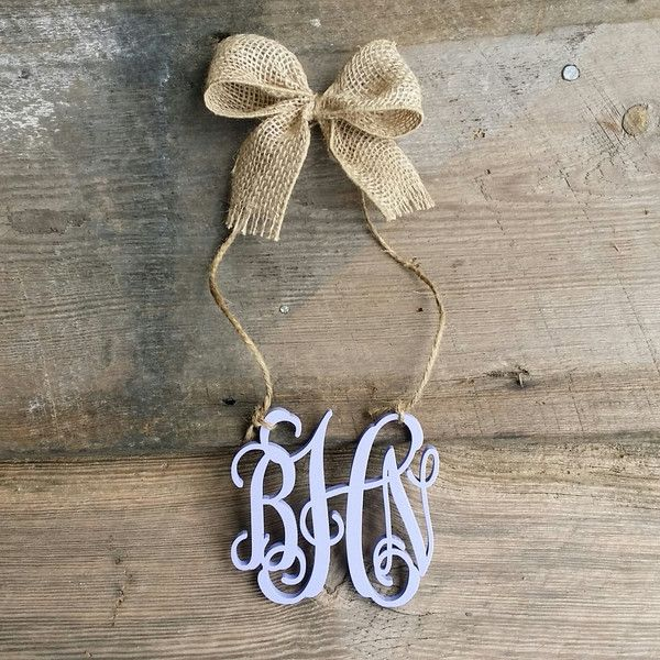 Rear View Mirror Monogram Car Charm Painted Mini Monogram ($15) ❤ liked on Polyvore featuring home, home decor, home & living, home décor, wall décor, white, car home decor, white home decor, car interior decor and traditional home decor