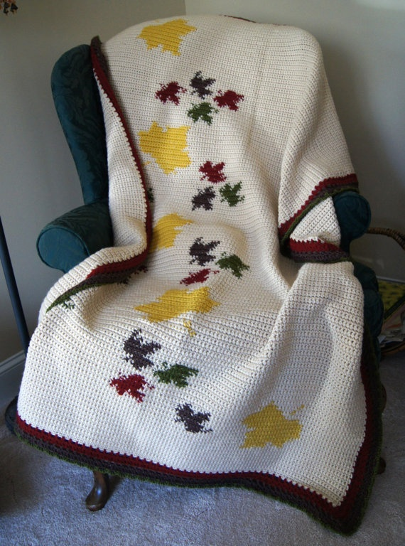 Maple Leaf Afghan Crochet Adult Blankets Pinterest