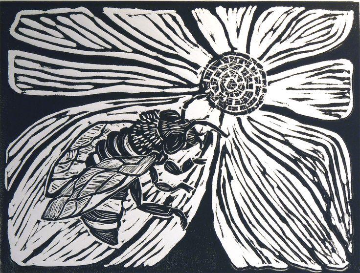 ✦    'a bee'  -  buffy cribbs   -  linocut  -  brackenwood gallery