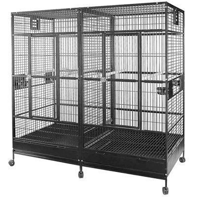 HQ Square Top Behemoth Parrot Cage w/Divider The removable divider allows you to either keep your parrots separated or have them enjoy the massive common space together. Both sections of this extra la