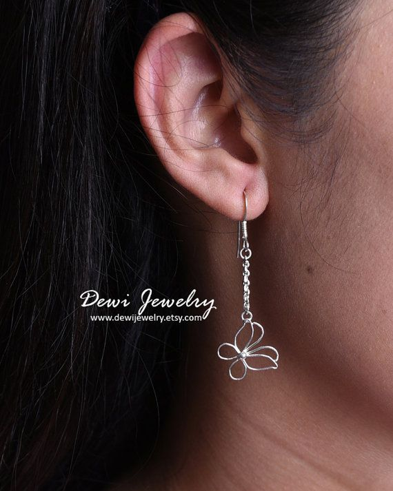 925 Sterling Silver Butterfly Earrings  Butterfly by DewiJewelry
