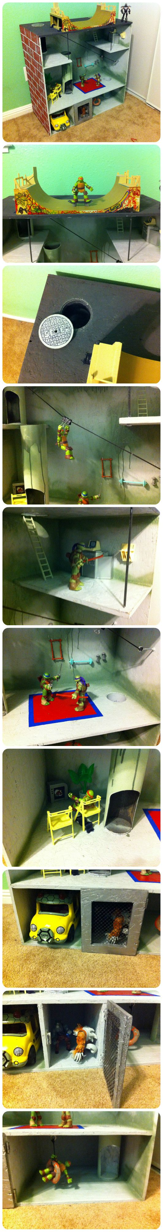 Home-made TMNT ninja turtle sewer lair for Pierce's birthday. Complete with skate ramp, sewer tunnels, zip line, dojo training room, Shellraiser van parking and of course a jail for the villains! Hand-made, built by my father out of plywood, then hand painted and decorated by yours truly. This will get hundreds of hours of play from my TMNT loving boys!
