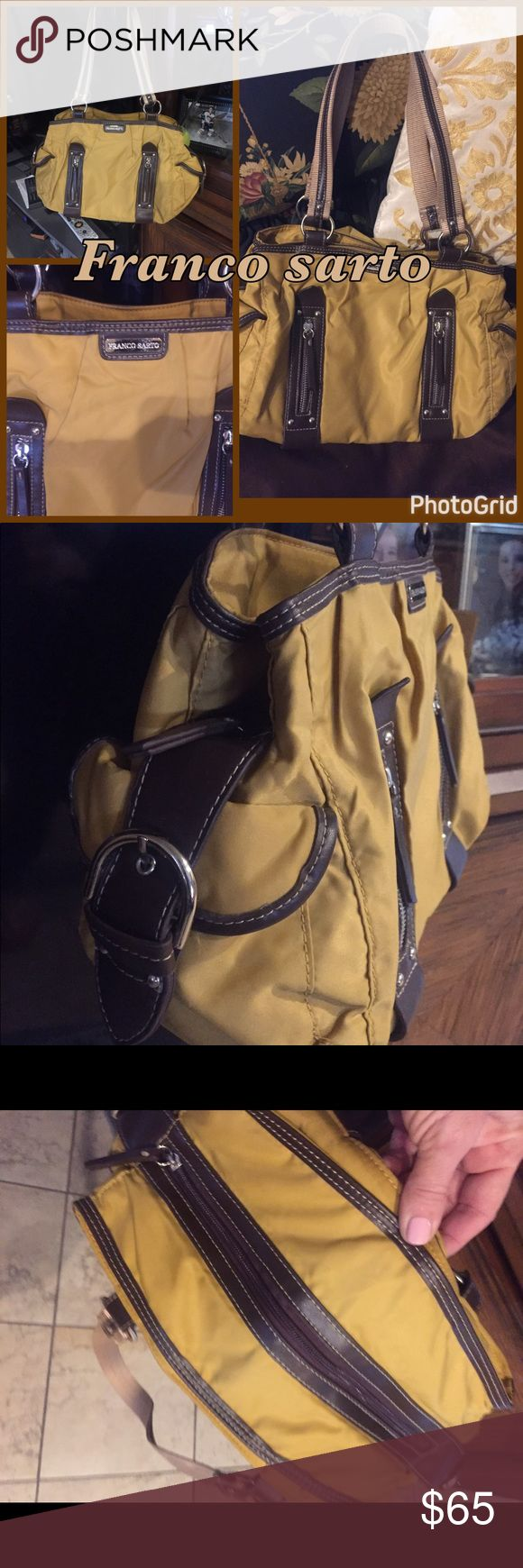 Franco Sarto handbag! Mustard yellow with deep brown leather shouder bag with multiple compartments! This was a find I NEVER USED! Looks and really is NEW, WOT💕no wear or tear ANYWHERE...;) Franco Sarto Bags Shoulder Bags