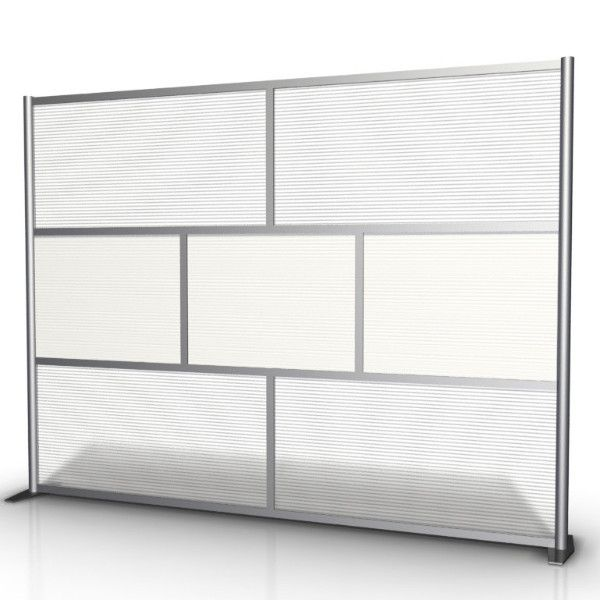 "100"" wide x 75"" high Room Divider & Office Partition, White Translucent & Hammered Freeze SW10075-3"