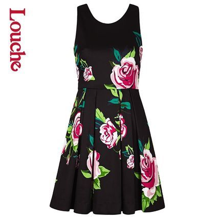 イギリス輸入ブランド・ルーシュより♪ ピンク・ローズの花柄プリントが上品なブラック・フレア・ワンピース☆