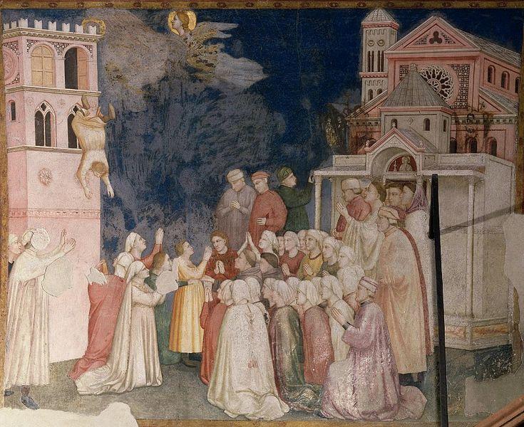 Фрески правого (северного) трансепта - Гибель мальчика из Сессы. Джотто ди Бондоне  Фрески Нижней церкви Сан-Франческо в Ассизи (1310)