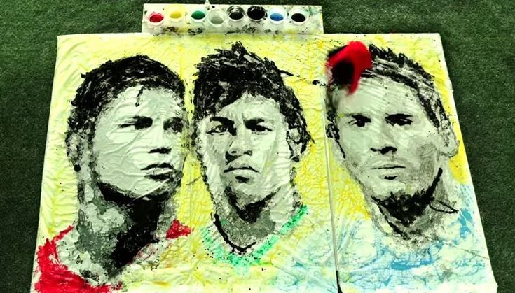 World Cup 2014 Art - Painting of Ronaldo, Neymar and Messi by a Football