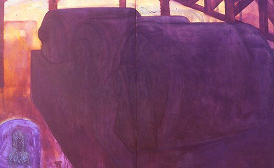 Dynamos. Oil and rubber paint on canvas (diptych). 8x13ft. 1980s.
