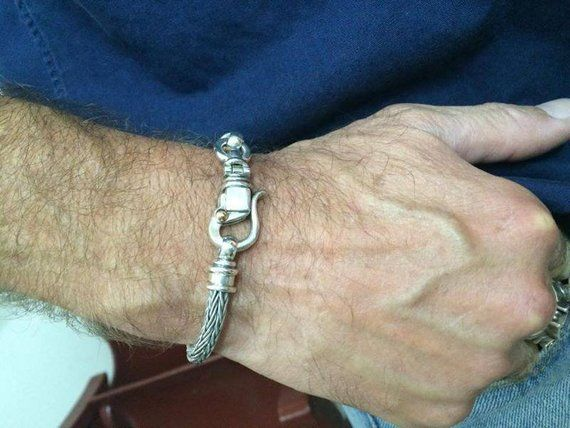 for men , for women SILVER BRAIDED BRACELET, special hook clasps / handmade silv…   – Bracelets