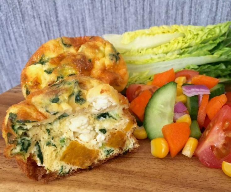 Pumpkin feta and spinach quiche