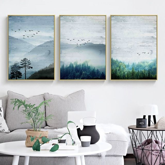 2 99 Nordic Style Posters And Prints Forest Landscape Canvas