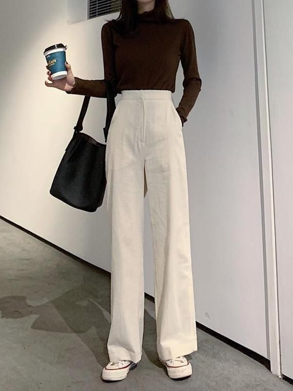High Waist Loose Wick Fluffy Thin Broad Leg Trousers Palazzo Pants