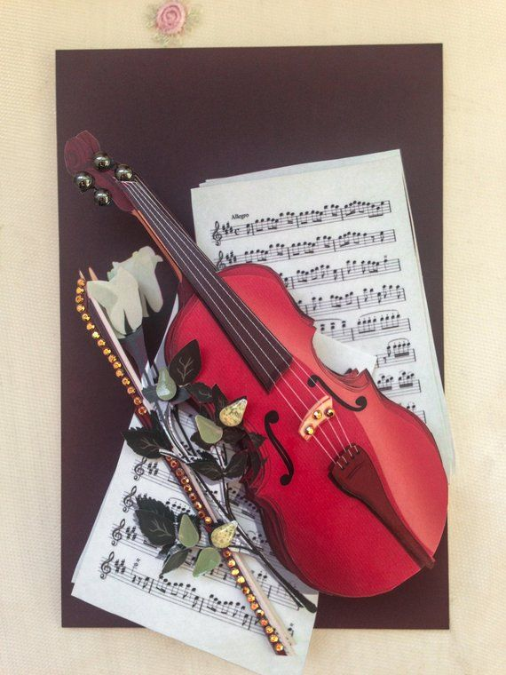 Violin 3d Paper Craft Music Lovers Gift Boyfriend For Boss Birthday Office