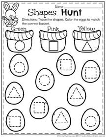 Spring Preschool Worksheets for April - Trace and Color Shapes Hunt