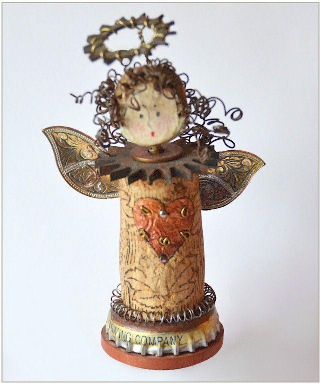 angel made from wine bottle cork, bottle cap, wire & other junk (mary corneliussen)